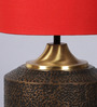 Courtyard Darbar Antique Brass Table Lamp with Red Shade