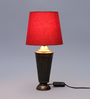 Courtyard Shobha Antique Brass Table Lamp with Red Shade