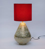 Courtyard Iris Table Lamp In Gold Base And Red Shade