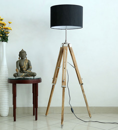 Craftter Handcrafted Black Fabric Tripod Floor Lamp - 1478765