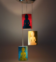 Craftter Lord Buddha Multicolour 5W LED Hanging Lamp - Set Of 3