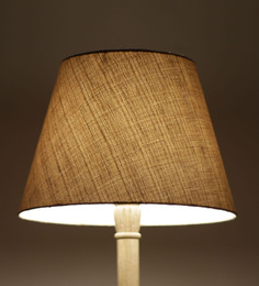 Craftter Dark Yellow Acrylic Fused With Cloth Textured Floor Lamp Shade