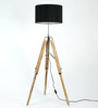 Craftter Handcrafted Black Fabric Tripod Floor Lamp