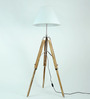 Craftter Handloom White Fabric Tripod Floor Lamp