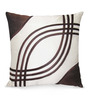 Creative Homez White & Brown Polyester 16 x 16 Inch Abstract Cushion Cover