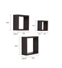 Crystal Furnitech Wenge Engineered Wood Square Wall Shelve - Set of 3
