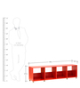 Yuma Cube Cabinet in Red Colour by Mintwud