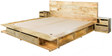 Dayton King Bed with Two Front Drawer & Two Bedside Tables in Natural Finish by Woodsworth
