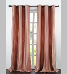 Deco Essential Rose Pink Jacquard Dot Box 90 X 46 Inch Single Panel Door Curtain - Set Of 2