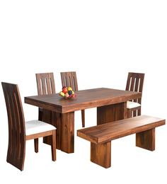 Delmonte Six Seater Dining Set With Bench In Walnut Colour By @home