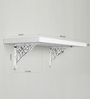 Deco Home White Solid Wood & Aluminium Wall Shelf with Brackets