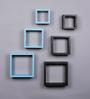 AYMH Black & Sky Blue MDF Nesting Square Wall Shelves - Set of 6