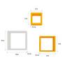 AYMH Orange & White MDF Square Shelf - Set of 6