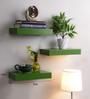 Decornation Green MDF Floating Wall Shelf - Set of 3