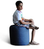 Denim Round Ottoman (Cover Only) L size in Blue Colour  by Style Homez