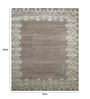 Designs View Brown Wool & Viscose 120 x 96 Inch Hand Made Damask Border Design Area Rug