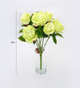 Deziworkz Mint Green Polyester Roses Bunch - Set of 6