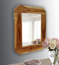 Divine Decor Brown Teak Wood Classic Mirror