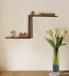 Divine Decor Walnut Brown Teak Wood Oslo Wall Shelf