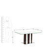 Six Seater Dining Table with Glass Top in White & Black Colour by Parin