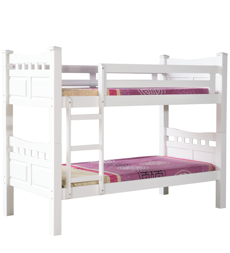 Buy mclarry bunk bed in white finish by mollycoddle online for Double decker toddler beds