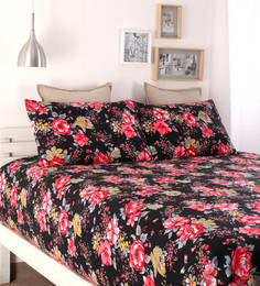 Dreamscape Black Poly Cotton Queen Size Bed Sheet - Set Of 3