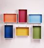 Dream Arts Red MDF Two Toned Wall Shelf - Set of 6
