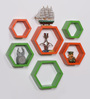 Driftingwood Orange & Green MDF Hexagon Shape Wall Shelf - Set of 6