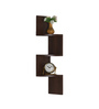 DriftingWood Walnut MDF Zigzag Wall Mount Corner 3 Tier Wall Shelf