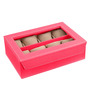 Ecoleatherette Leatherette Dark Pink 8-case Watch Box