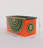 eCraftindia Green & Orange Papier Mache & Wood Decorative Utility Box Premium Pen Stand