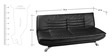 Edo Leatherette Sofa Cum Bed in Black Colour by Furny