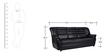 Edo Three Seater  Sofa in Black Leatherette by Furny