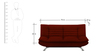 Edo Three Seater Sofa Bed in Maroon Colour by Furny