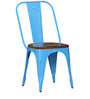 Kumtor Metal Chair in Sky Blue Color with Wooden Seat by Bohemiana