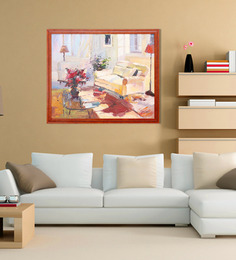 Elegant Arts And Frames Canvas & Wood 27.5 X 1 X 23.5 Inch Living Room In The Morning Light Framed Original Oil Painting Kannan