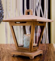Eleganze Decor Brown Teak & Glass Topi Lantern Candle Holder