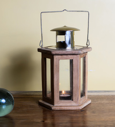 Eleganze Decor Brown Teak Wood & Glass Hexagon Lantern Candle Holder