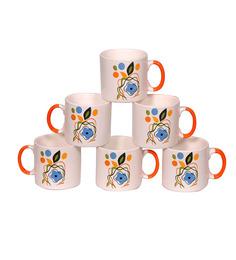 Elite Floral Ceramic 200 ML Tea Cups - Set Of 6