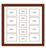 Elegant Arts and Frames Brown Wooden 34 x 1 x 34 Inch 13 Pocket Family Collage Photo Frame