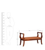 Anderson Upholstered Bench in Honey Oak Finish by Amberville