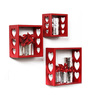 Eraserheads Eclectic Wall Shelves Set of 3 in Red by Bohemiana