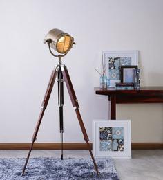Ethnic Roots  Sheesham Wood And Brass Finish Tripod Floor Lamp - 1408494