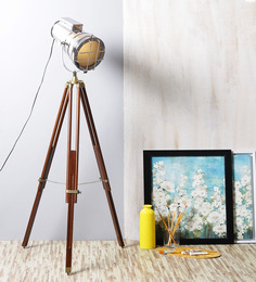 Ethnic Roots Brass Metal Sheesham Wood Tripod Floor Lamp