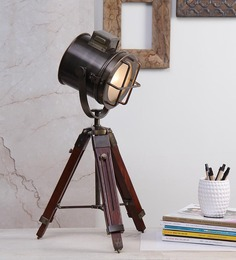 Ethnic Roots Antique Brown Teak Wood Tripod Table Lamp - 1351253
