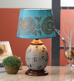 Ethnic Roots Blue Cotton Table Lamp - 1566833