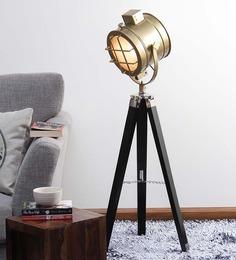 Ethnic Roots Brown Brass Finish Teak Wood Tripod Floor Lamp