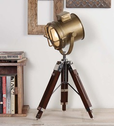Ethnic Roots Brass Finish Tripod Table Lamp With Wooden Stand
