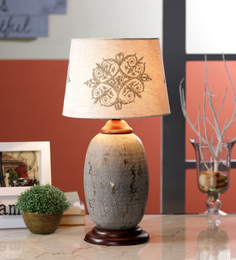 Ethnic Roots Cream Cotton Table Lamp - 1566841