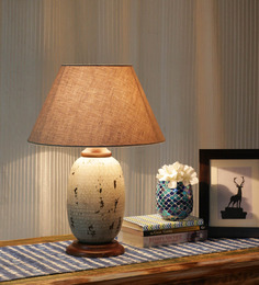 Ethnic Roots Gray And Beige Metal Contemporary Table Lamp